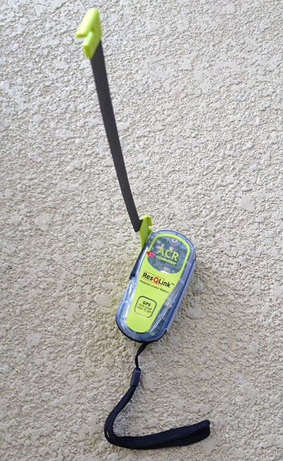 The ACR ResQLink+ PLB with its antenna deployed and ready for use